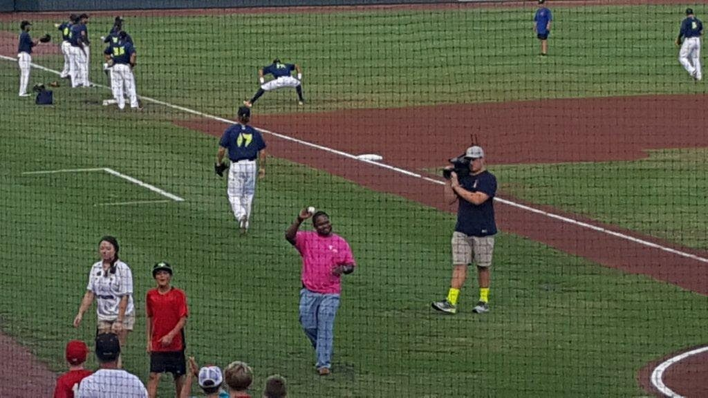 CASA is Columbia Fireflies Charity of Choice - Dante Roberts, Training Manager, throws out 1st pitch for the game
